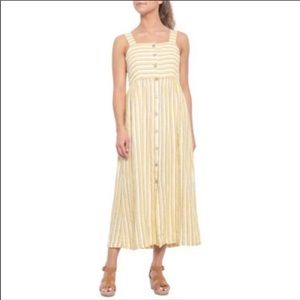 Rachel Zoe 100% linen farm stripe maxi dress 6
